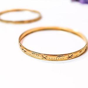 (2) 10k Gold Plated Bangle Bracelets